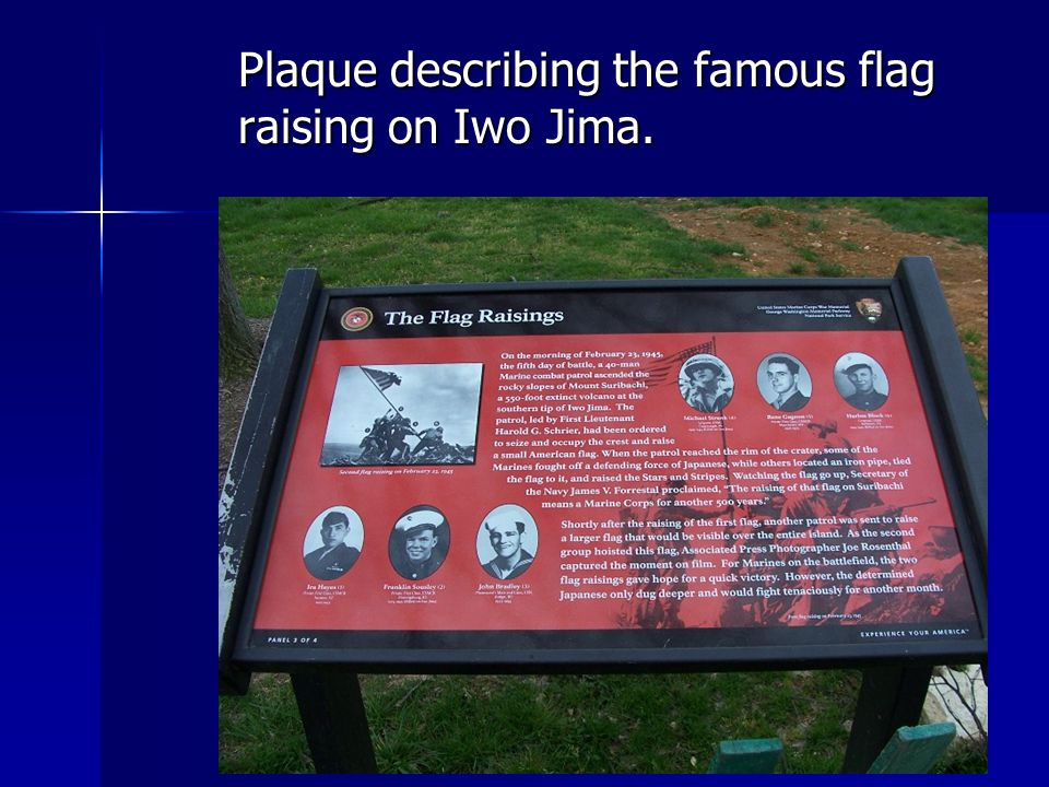 Plaque describing the famous flag raising on Iwo Jima.