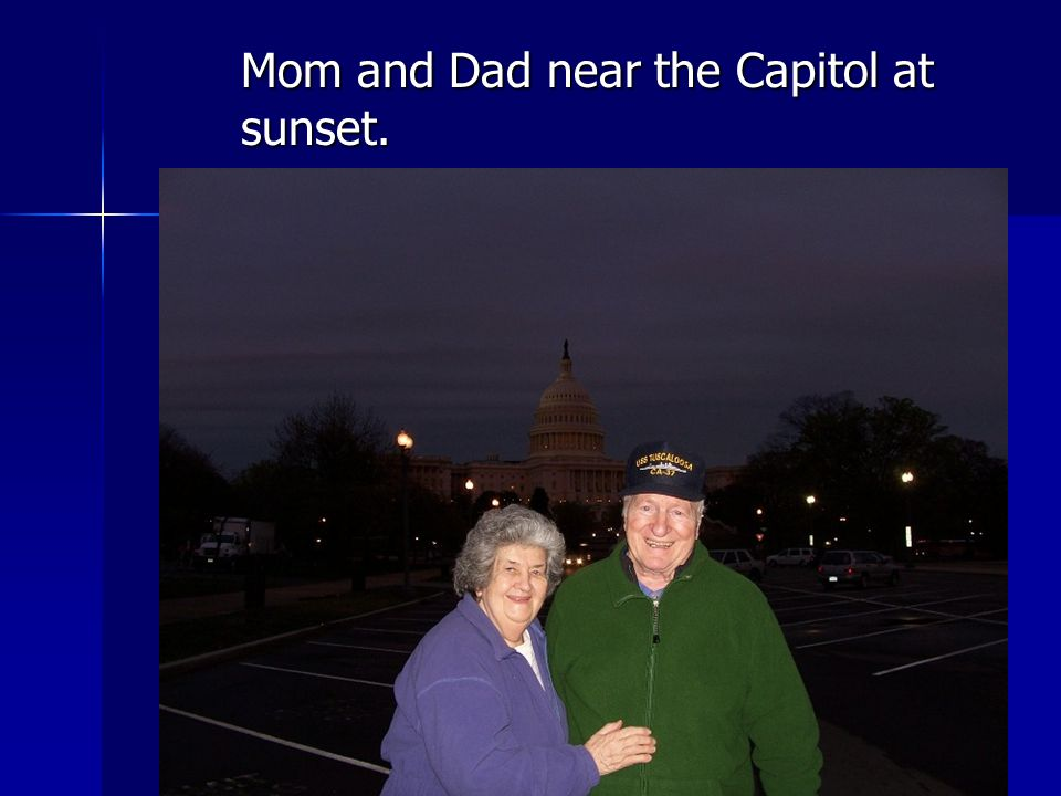 Mom and Dad near the Capitol at sunset.