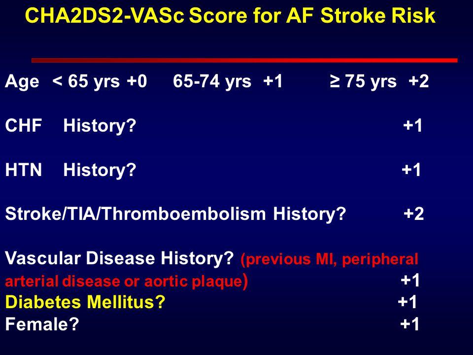 Age< 65 yrs +0 65-74 yrs +1 ≥ 75 yrs +2 CHF History? +1 HTN History? +1 Stroke/TIA/Thromboembolism History? +2 Vascular Disease History? (previous MI,