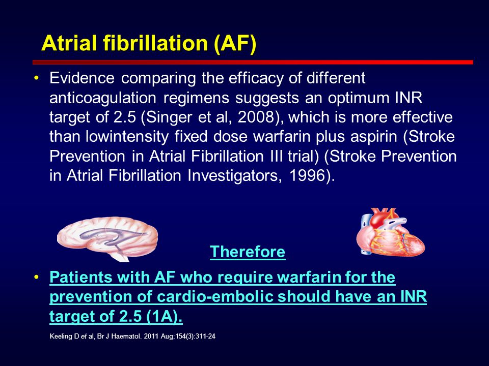 Atrial fibrillation (AF) Atrial fibrillation (AF) Evidence comparing the efficacy of different anticoagulation regimens suggests an optimum INR target of 2.5 (Singer et al, 2008), which is more effective than lowintensity fixed dose warfarin plus aspirin (Stroke Prevention in Atrial Fibrillation III trial) (Stroke Prevention in Atrial Fibrillation Investigators, 1996).