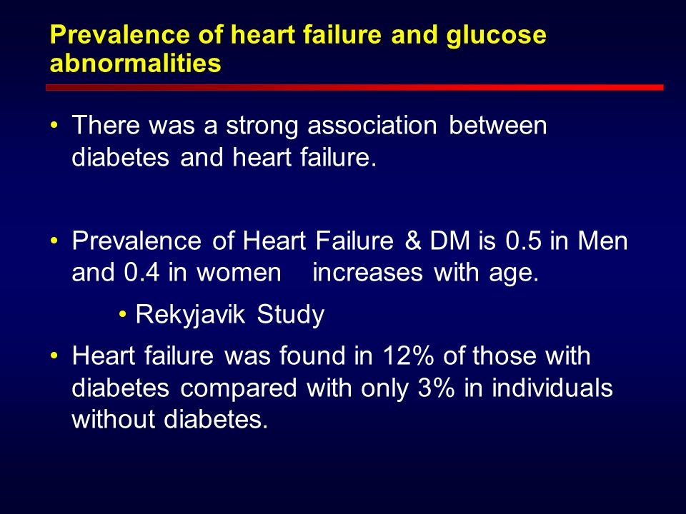 Prevalence of heart failure and glucose abnormalities There was a strong association between diabetes and heart failure.