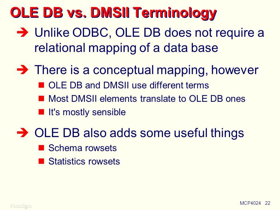 MCP402422 OLE DB vs.