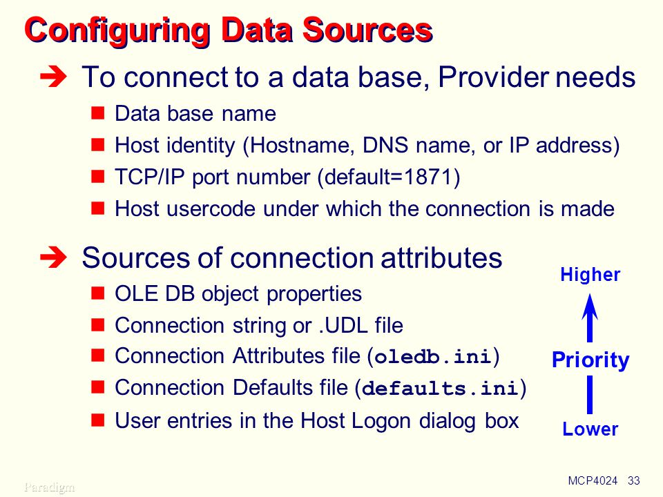 MCP402433 Configuring Data Sources  To connect to a data base, Provider needs Data base name Host identity (Hostname, DNS name, or IP address) TCP/IP port number (default=1871) Host usercode under which the connection is made  Sources of connection attributes OLE DB object properties Connection string or.UDL file Connection Attributes file ( oledb.ini ) Connection Defaults file ( defaults.ini ) User entries in the Host Logon dialog box Priority Higher Lower