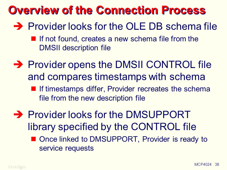 MCP402438 Overview of the Connection Process  Provider looks for the OLE DB schema file If not found, creates a new schema file from the DMSII description file  Provider opens the DMSII CONTROL file and compares timestamps with schema If timestamps differ, Provider recreates the schema file from the new description file  Provider looks for the DMSUPPORT library specified by the CONTROL file Once linked to DMSUPPORT, Provider is ready to service requests