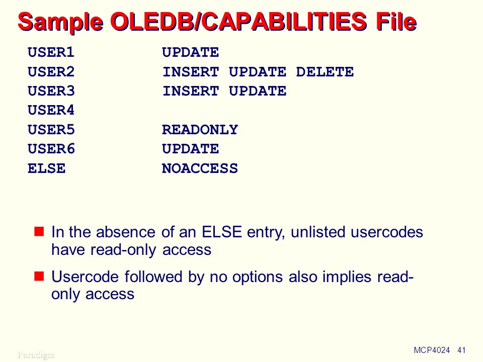 MCP402441 Sample OLEDB/CAPABILITIES File USER1UPDATE USER2INSERT UPDATE DELETE USER3INSERT UPDATE USER4 USER5READONLY USER6UPDATE ELSENOACCESS In the absence of an ELSE entry, unlisted usercodes have read-only access Usercode followed by no options also implies read- only access
