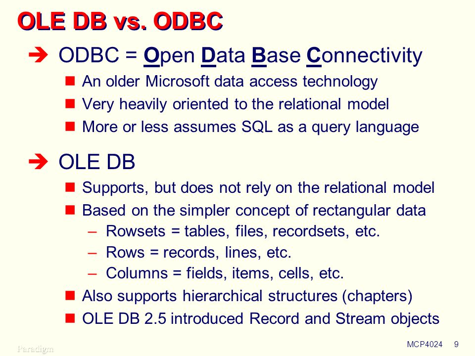 MCP40249 OLE DB vs.