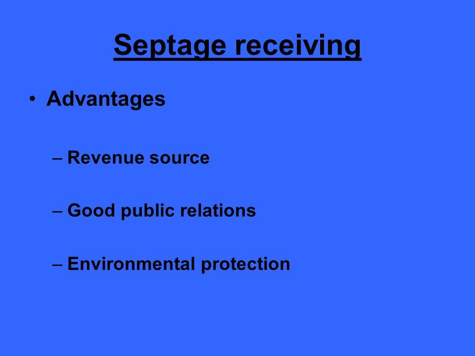 Septage receiving Advantages –Revenue source –Good public relations –Environmental protection