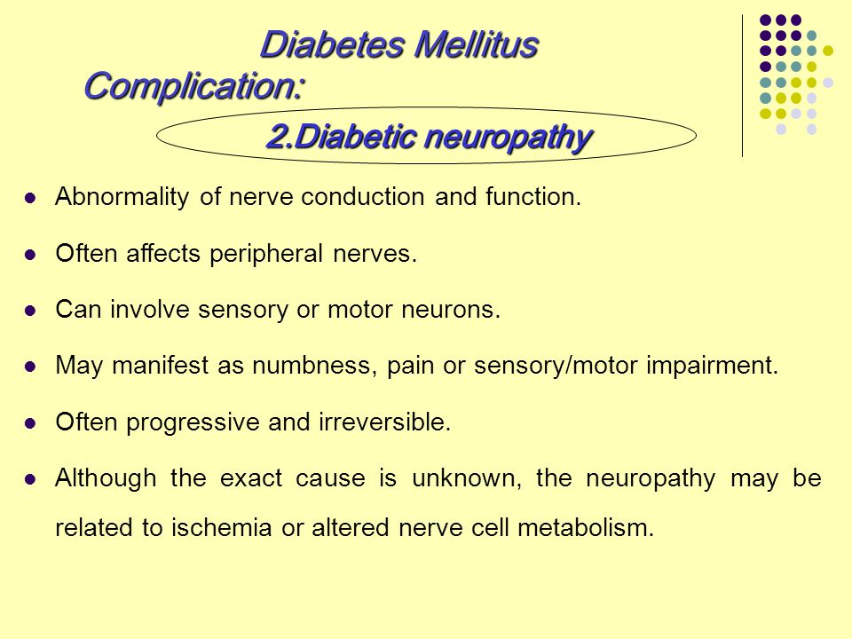 Abnormality of nerve conduction and function. Often affects peripheral nerves. Can involve sensory or motor neurons. May manifest as numbness, pain or