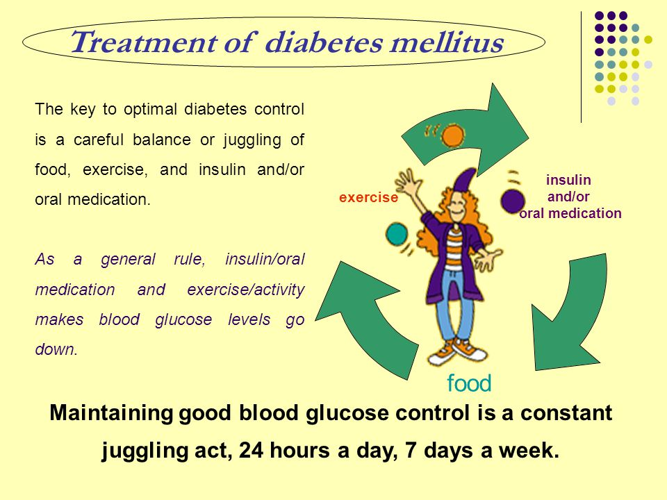 insulin and/or oral medication food exercise The key to optimal diabetes control is a careful balance or juggling of food, exercise, and insulin and/o