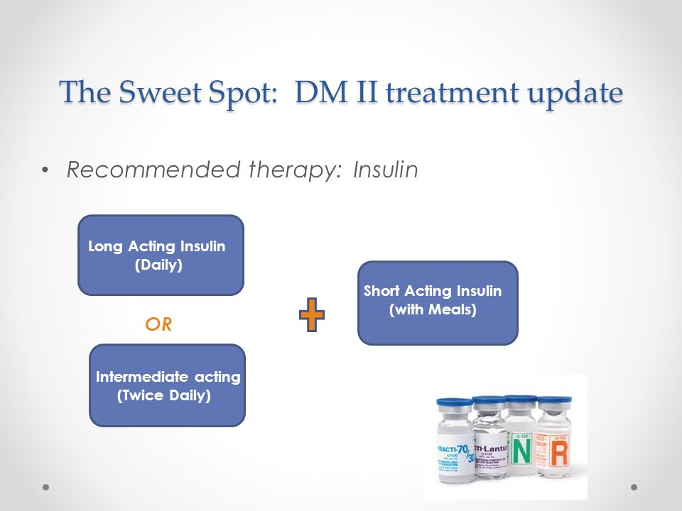 The Sweet Spot: DM II treatment update Recommended therapy: Insulin Long Acting Insulin (Daily) Short Acting Insulin (with Meals) Intermediate acting