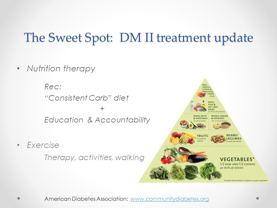 """The Sweet Spot: DM II treatment update Nutrition therapy Rec: """"Consistent Carb"""" diet + Education & Accountability Exercise Therapy, activities, walkin"""