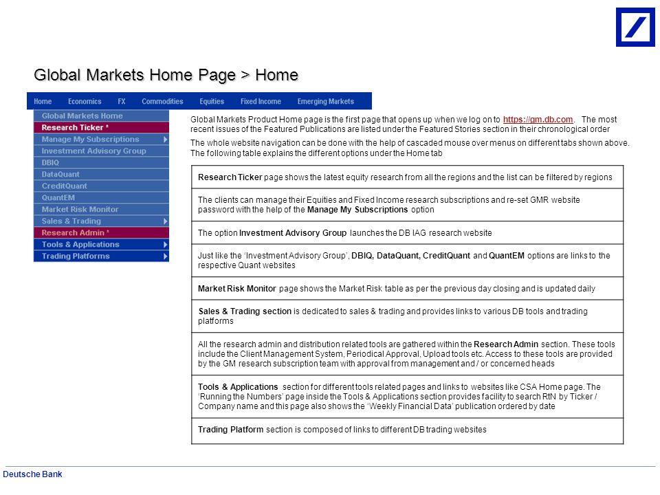 Deutsche Bank Economics Page Economics Home page is for Fixed Income Economics research.