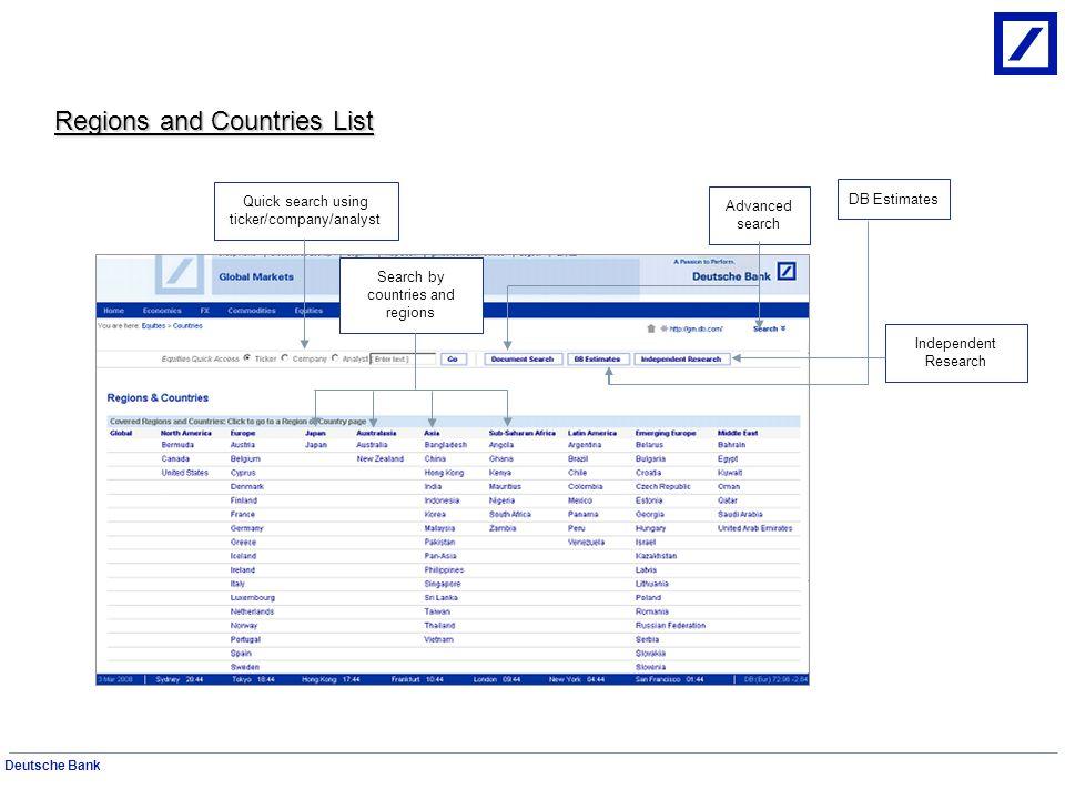 Deutsche Bank Use the DB Estimates Screen for quick access to Company data and estimates.