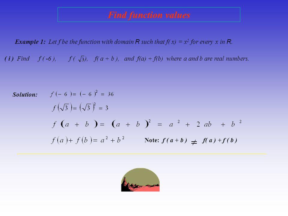 More illustrations…. x * z * w * 5 * * f(w) * f(x) * f(z) * f(5) * 3 * 4 * - 9 D E f is not a function Why? x in D has two values x * z * w * 5 * * f(