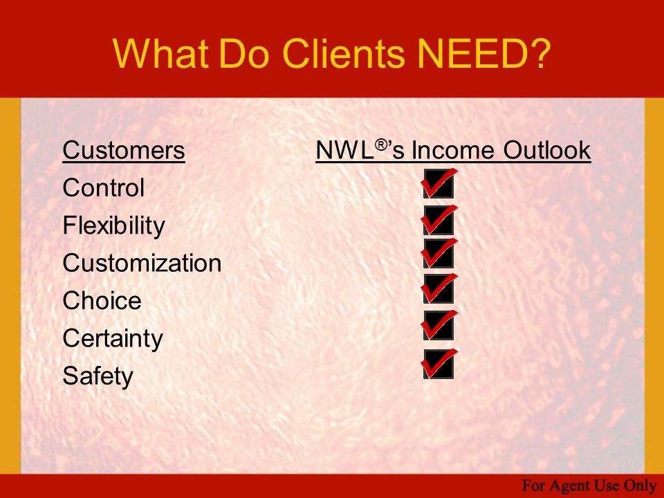 What Do Clients NEED? CustomersNWL ® 's Income Outlook Control Flexibility Customization Choice Certainty Safety