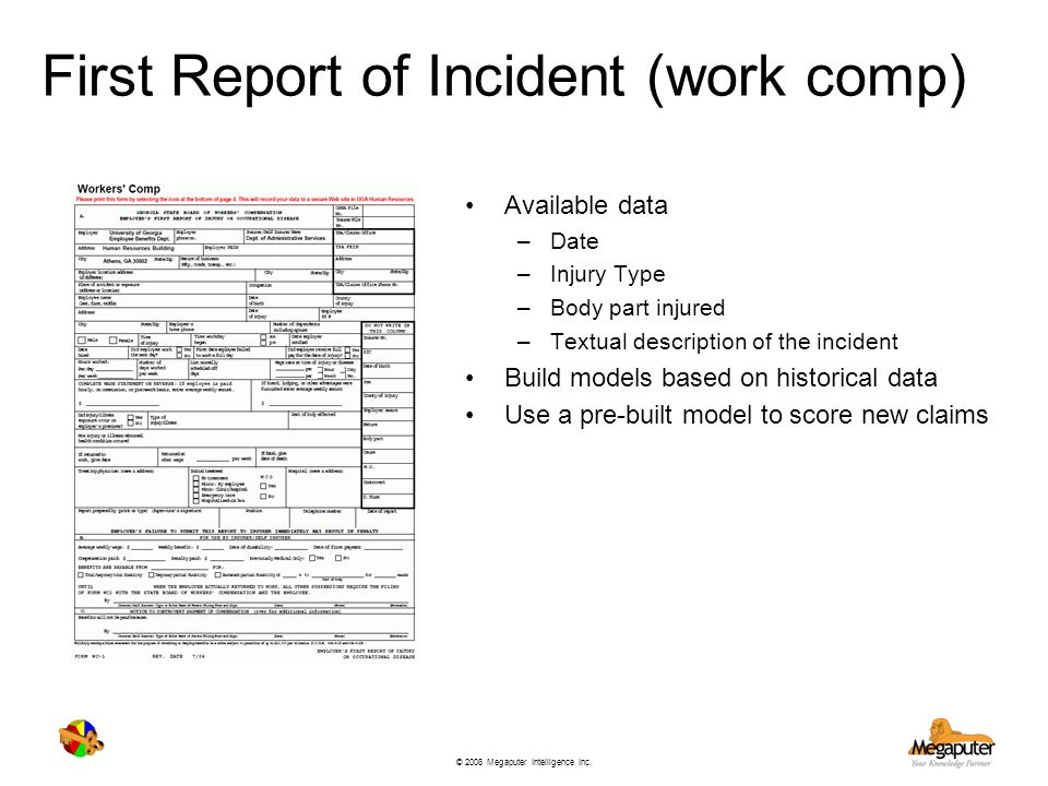 © 2008 Megaputer Intelligence Inc. First Report of Incident (work comp) Available data –Date –Injury Type –Body part injured –Textual description of t