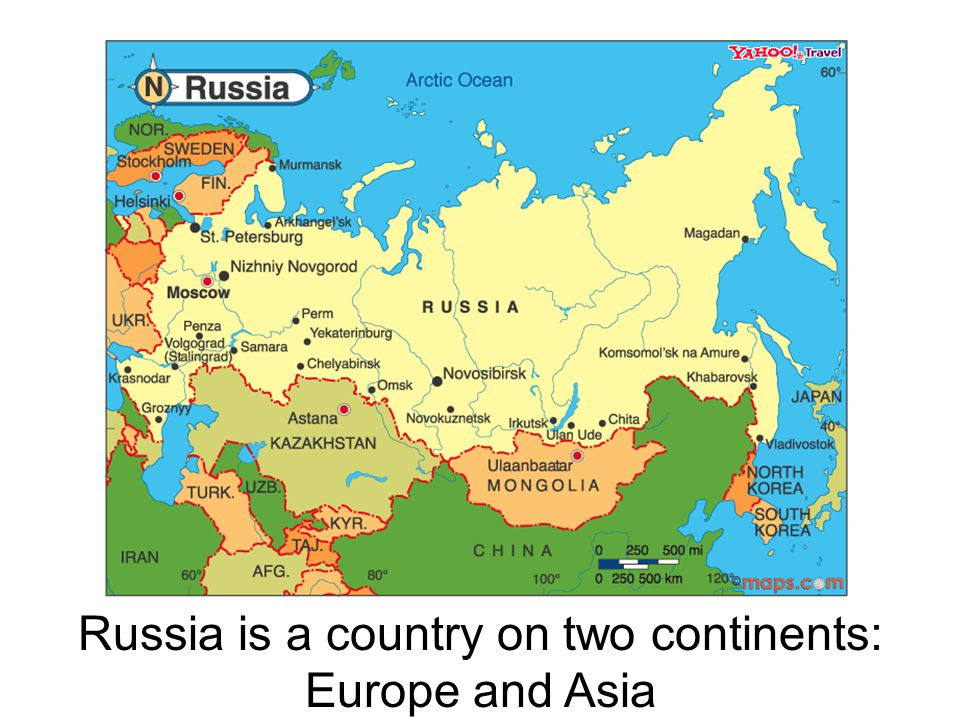 Russia is a country on two continents: Europe and Asia