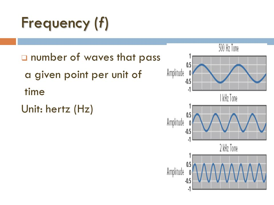 Frequency (f)  number of waves that pass a given point per unit of time Unit: hertz (Hz)