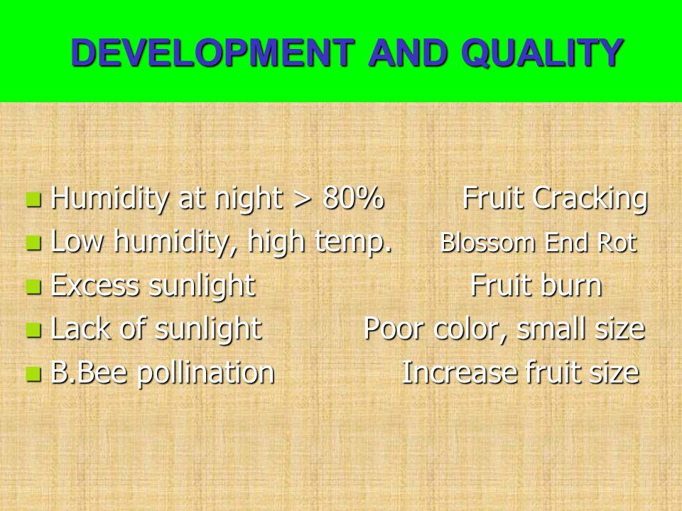 DEVELOPMENT AND QUALITY DEVELOPMENT AND QUALITY Humidity at night > 80% Fruit Cracking Humidity at night > 80% Fruit Cracking Low humidity, high temp.