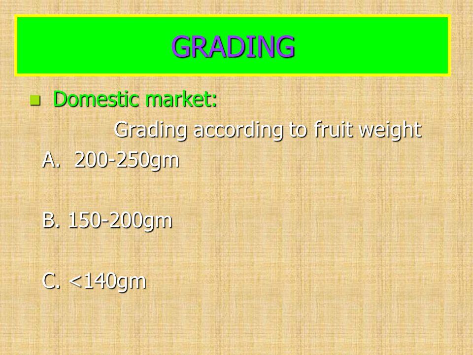 GRADING Domestic market: Domestic market: Grading according to fruit weight Grading according to fruit weight A. 200-250gm A. 200-250gm B. 150-200gm B