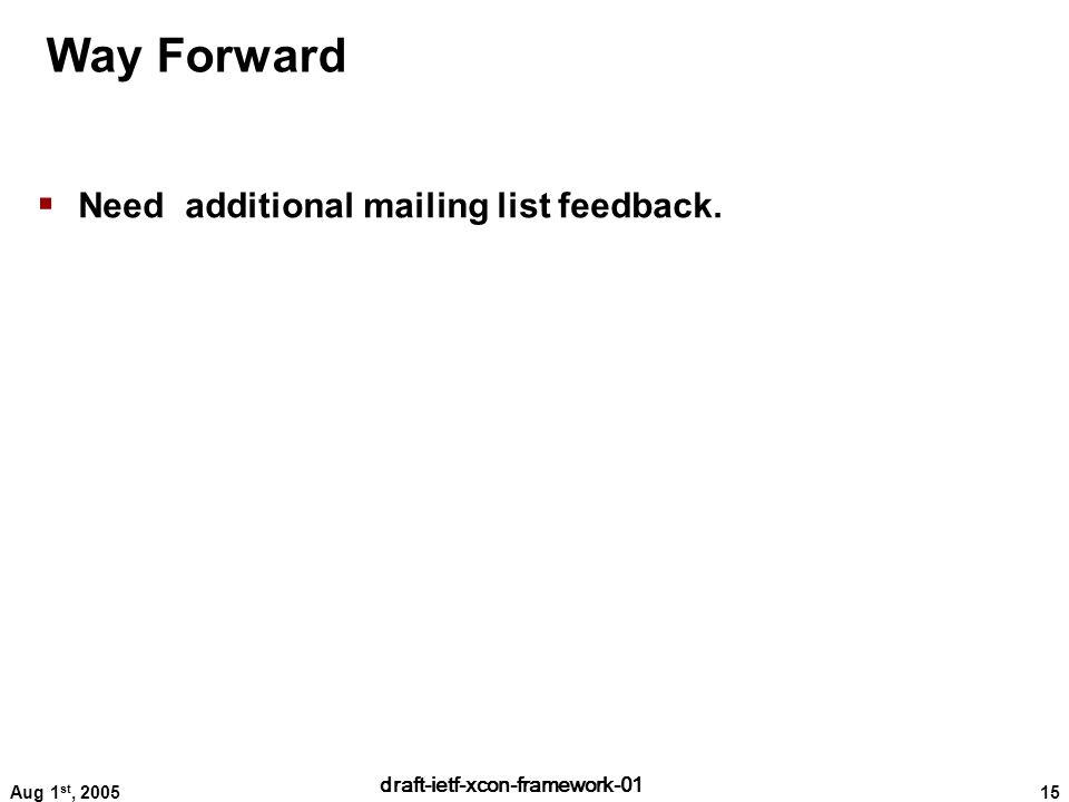 15 draft-ietf-xcon-framework-01 Aug 1 st, 2005 Way Forward  Need additional mailing list feedback.