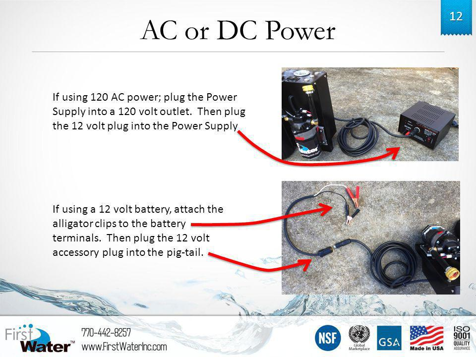 AC or DC Power 12 If using 120 AC power; plug the Power Supply into a 120 volt outlet.