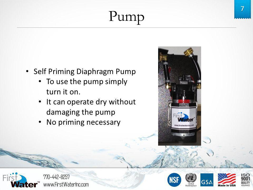 7 Self Priming Diaphragm Pump To use the pump simply turn it on.