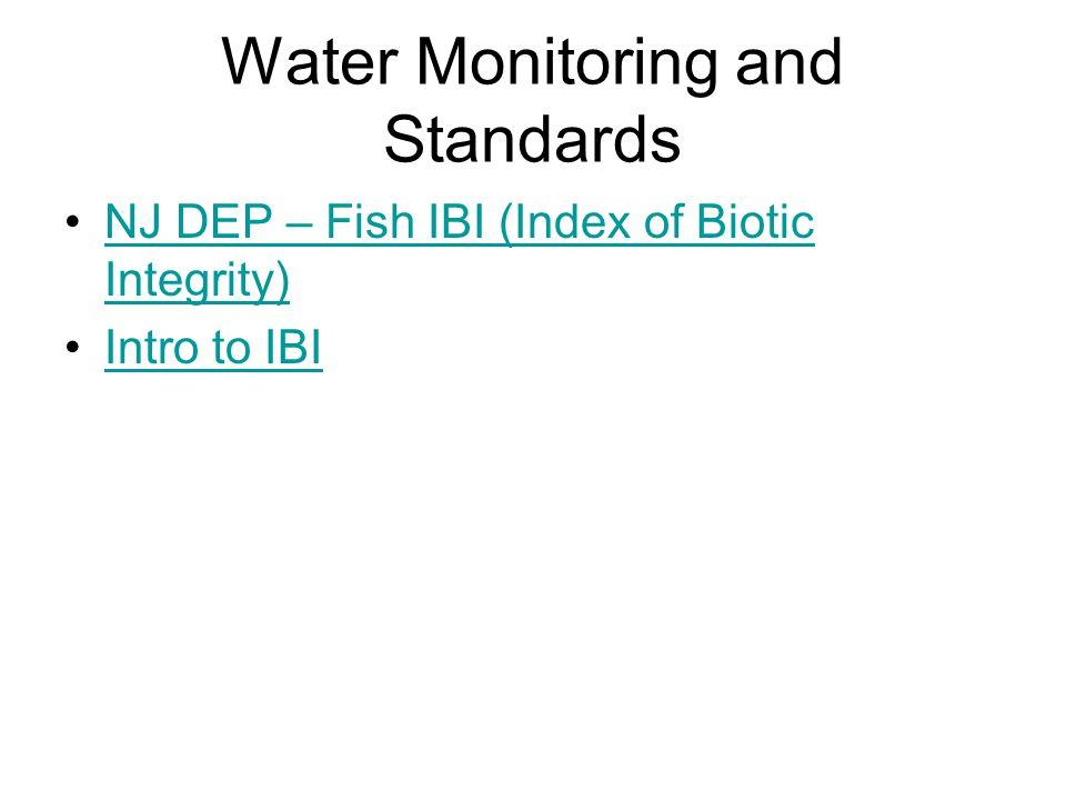 Water Monitoring and Standards NJ DEP – Fish IBI (Index of Biotic Integrity)NJ DEP – Fish IBI (Index of Biotic Integrity) Intro to IBI