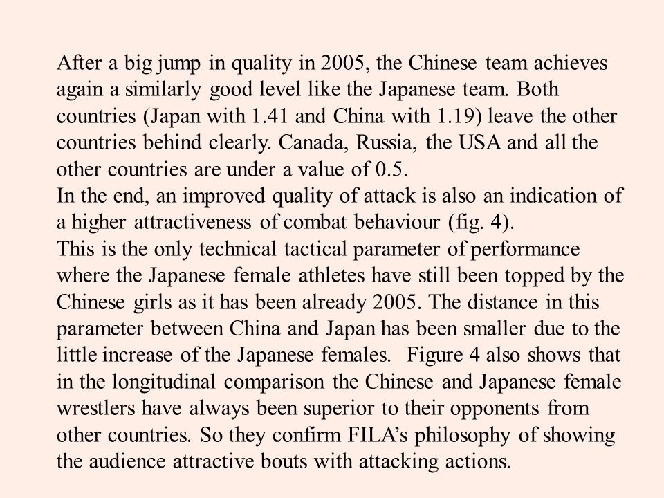After a big jump in quality in 2005, the Chinese team achieves again a similarly good level like the Japanese team.