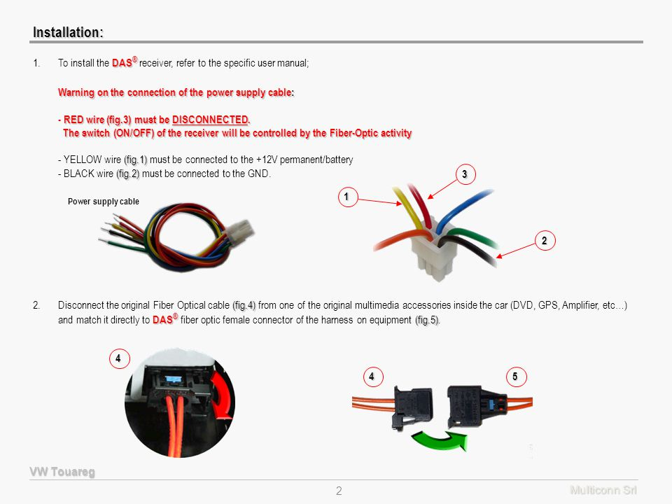 Multiconn Srl 2 (fig.4) DAS ® (fig.5) 2.Disconnect the original Fiber Optical cable (fig.4) from one of the original multimedia accessories inside the car (DVD, GPS, Amplifier, etc…) and match it directly to DAS ® fiber optic female connector of the harness on equipment (fig.5).4 45Installation: VW Touareg DAS ® 1.To install the DAS ® receiver, refer to the specific user manual; Warning on the connection of the power supply cable: RED wire (fig.3) must be DISCONNECTED.