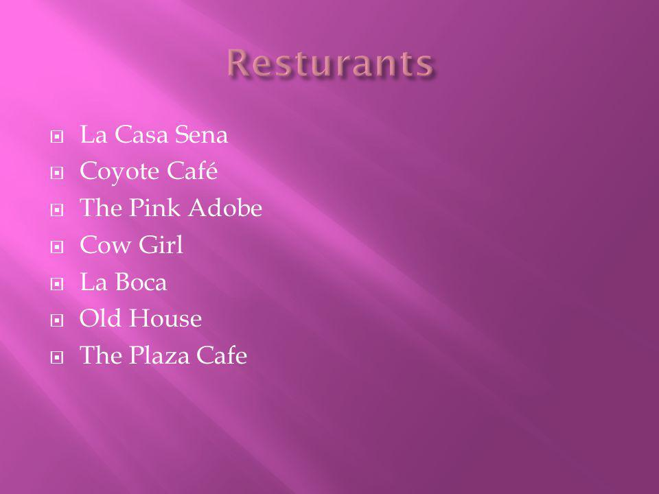  La Casa Sena  Coyote Café  The Pink Adobe  Cow Girl  La Boca  Old House  The Plaza Cafe