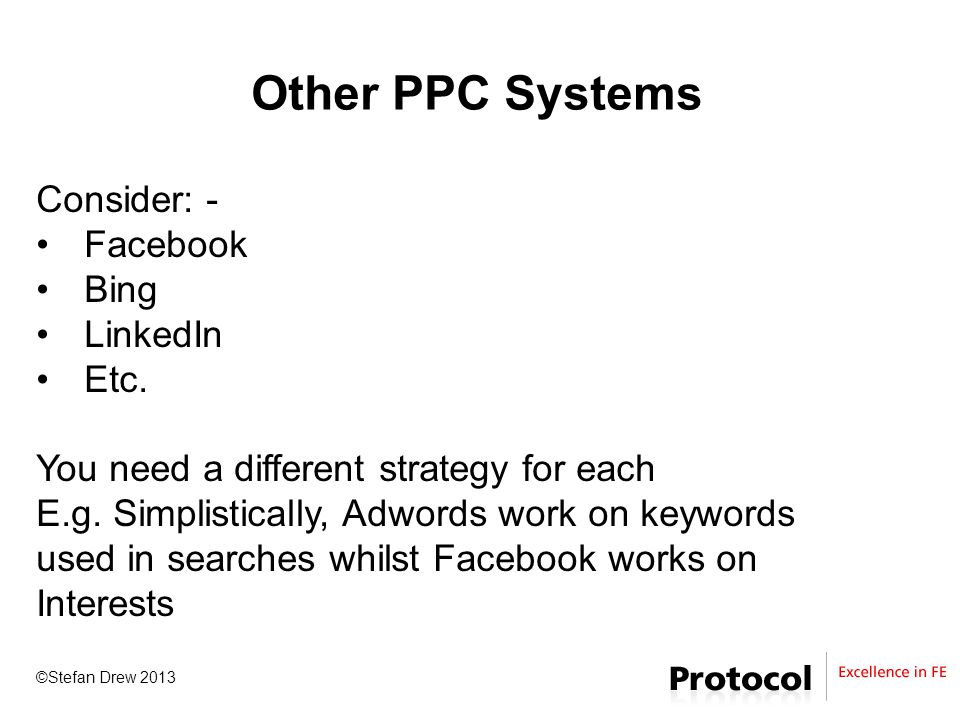 ©Stefan Drew 2013 Other PPC Systems Consider: - Facebook Bing LinkedIn Etc.