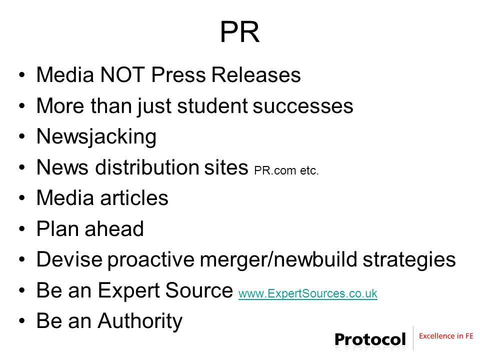 PR Media NOT Press Releases More than just student successes Newsjacking News distribution sites PR.com etc.