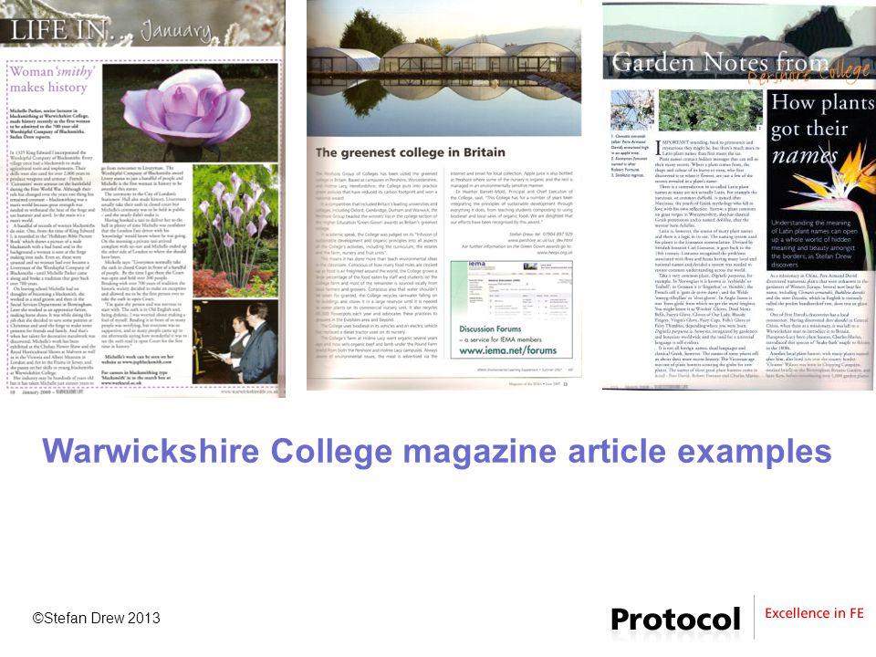 ©Stefan Drew 2013 Warwickshire College magazine article examples