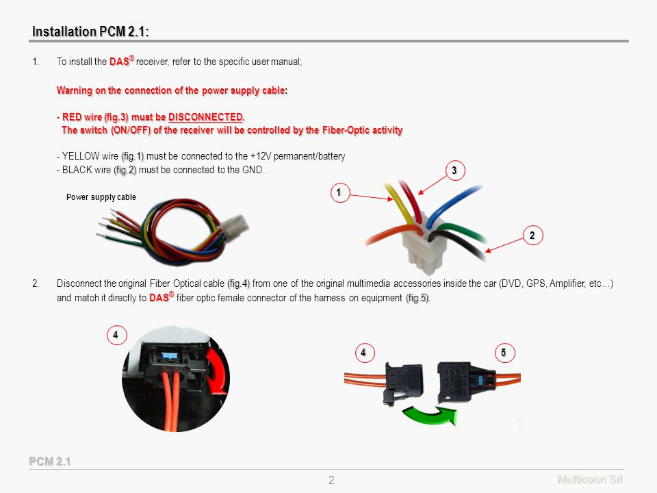 Multiconn Srl 2 (fig.4) DAS ® (fig.5) 2.Disconnect the original Fiber Optical cable (fig.4) from one of the original multimedia accessories inside the car (DVD, GPS, Amplifier, etc…) and match it directly to DAS ® fiber optic female connector of the harness on equipment (fig.5).4 45 Installation PCM 2.1: PCM 2.1 DAS ® 1.To install the DAS ® receiver, refer to the specific user manual; Warning on the connection of the power supply cable: RED wire (fig.3) must be DISCONNECTED.