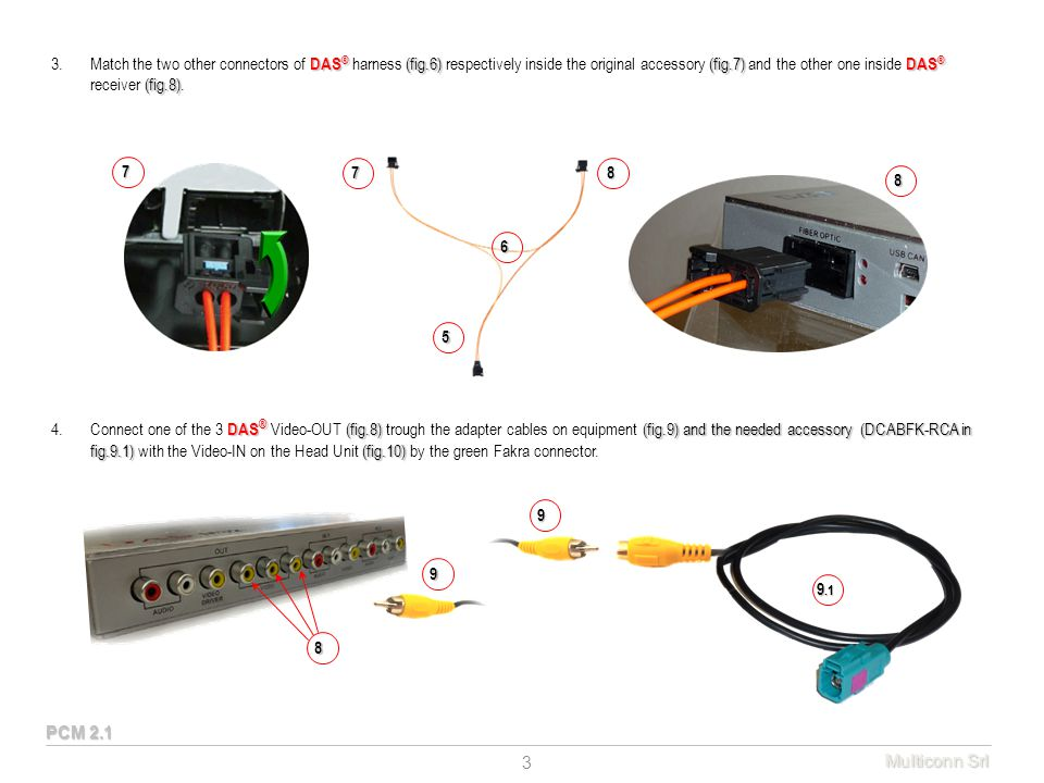 DAS ® (fig.6)(fig.7) DAS ® (fig.8) 3.Match the two other connectors of DAS ® harness (fig.6) respectively inside the original accessory (fig.7) and the other one inside DAS ® receiver (fig.8).