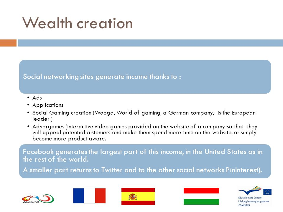 Wealth creation Social networking sites generate income thanks to : Ads Applications Social Gaming creation (Wooga, World of gaming, a German company, is the European leader ) Advergames (interactive video games provided on the website of a company so that they will appeal potential customers and make them spend more time on the website, or simply become more product aware.