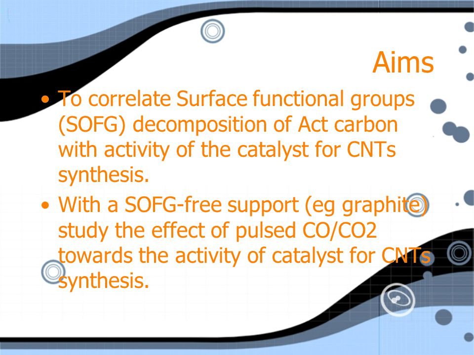 Aims To correlate Surface functional groups (SOFG) decomposition of Act carbon with activity of the catalyst for CNTs synthesis.
