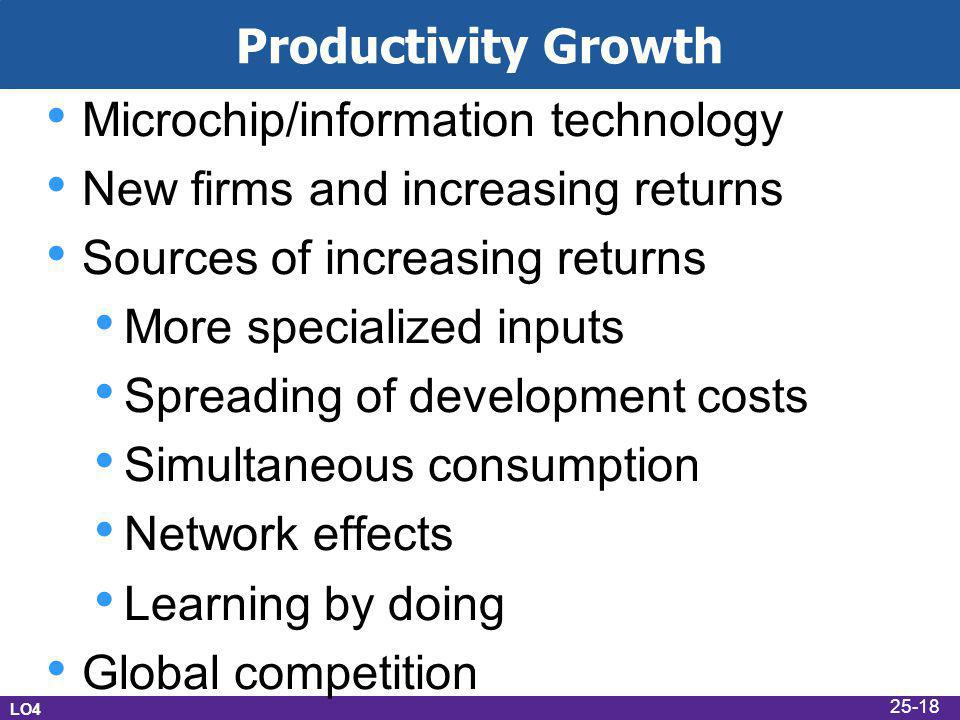 Productivity Growth Microchip/information technology New firms and increasing returns Sources of increasing returns More specialized inputs Spreading of development costs Simultaneous consumption Network effects Learning by doing Global competition LO4 25-18