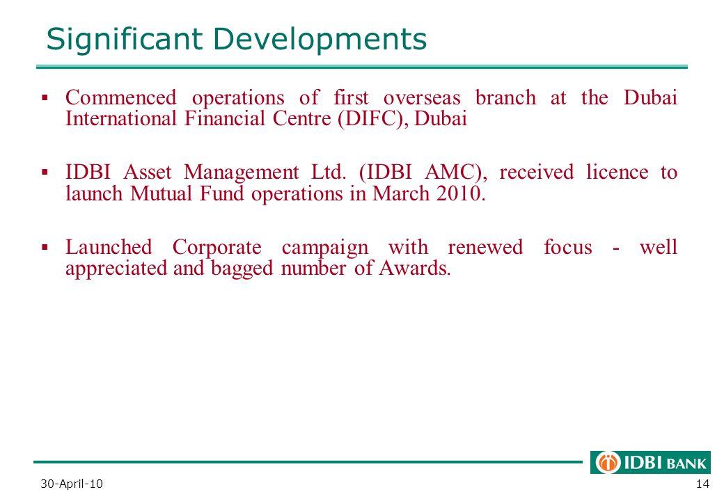 Significant Developments 14  Commenced operations of first overseas branch at the Dubai International Financial Centre (DIFC), Dubai  IDBI Asset Management Ltd.