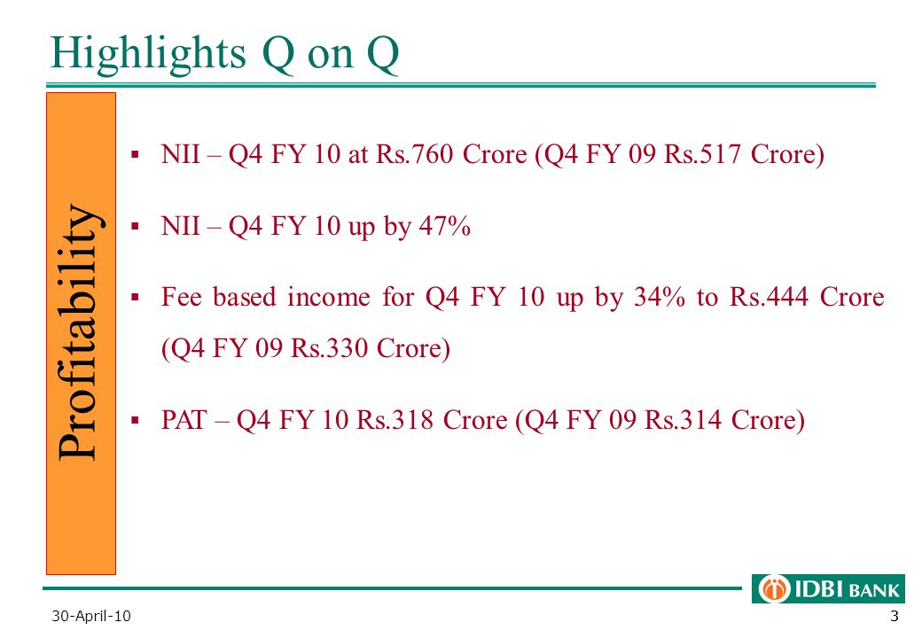 33 Highlights Q on Q Profitability  NII – Q4 FY 10 at Rs.760 Crore (Q4 FY 09 Rs.517 Crore)  NII – Q4 FY 10 up by 47%  Fee based income for Q4 FY 10