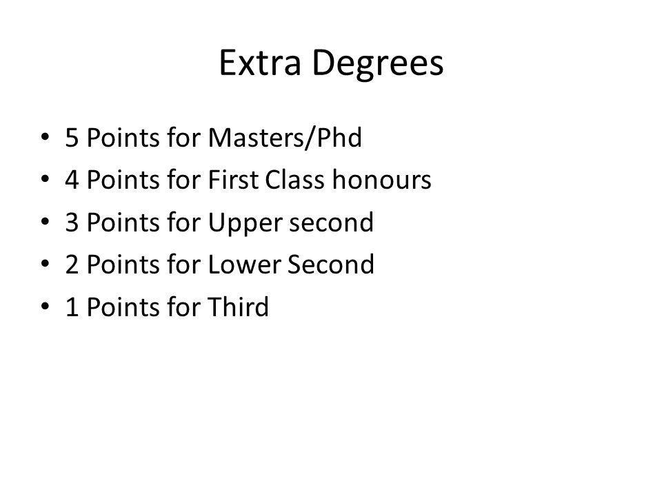 Extra Degrees 5 Points for Masters/Phd 4 Points for First Class honours 3 Points for Upper second 2 Points for Lower Second 1 Points for Third