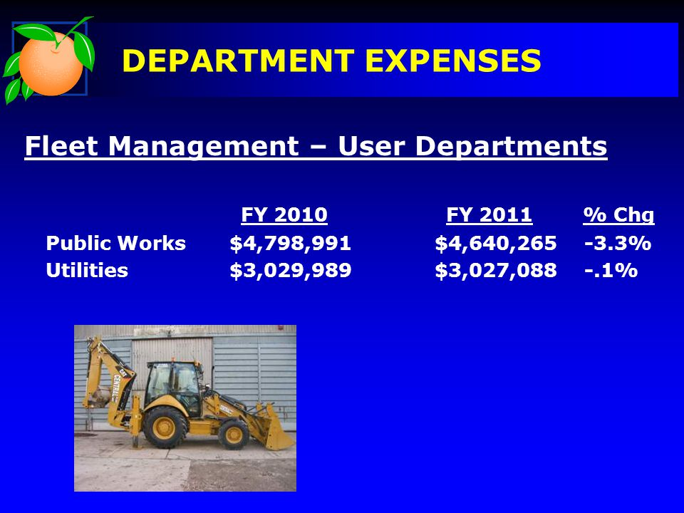 DEPARTMENT EXPENSES Fleet Management – User Departments FY 2010FY 2011% Chg Public Works$4,798,991$4,640,265 -3.3% Utilities$3,029,989$3,027,088 -.1%