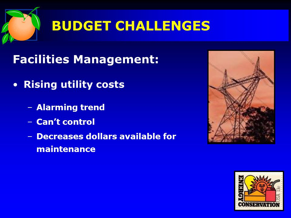 BUDGET CHALLENGES Facilities Management: Rising utility costs –Alarming trend –Can't control –Decreases dollars available for maintenance