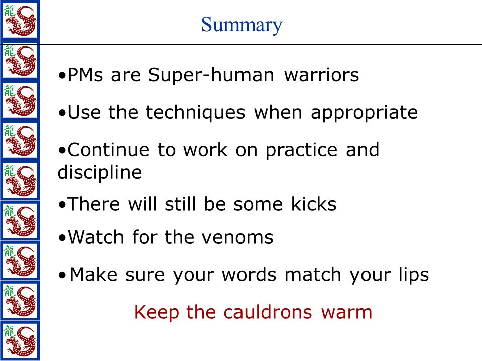 Summary Use the techniques when appropriate There will still be some kicks Continue to work on practice and discipline PMs are Super-human warriors Watch for the venoms Make sure your words match your lips Keep the cauldrons warm