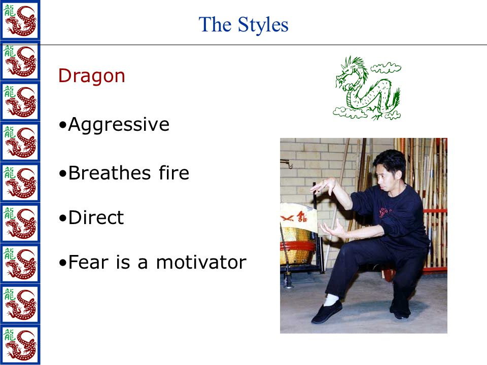 The Styles Dragon Aggressive Direct Breathes fire Fear is a motivator