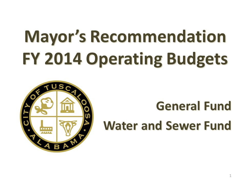 Mayor's Recommendation FY 2014 Operating Budgets General Fund Water and Sewer Fund 1
