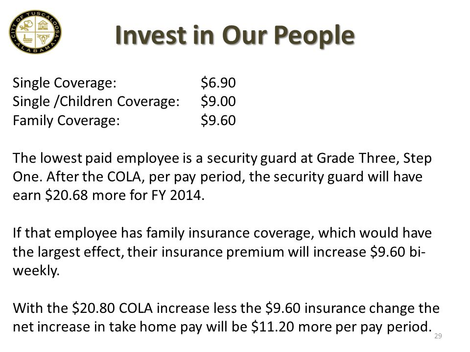 Invest in Our People 29 Single Coverage: $6.90 Single /Children Coverage:$9.00 Family Coverage:$9.60 The lowest paid employee is a security guard at Grade Three, Step One.