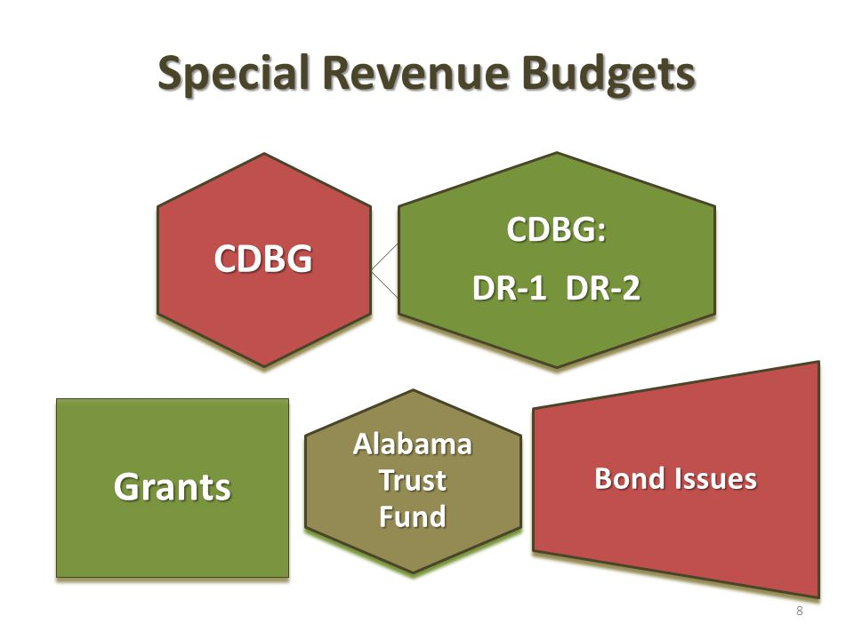 Special Revenue Budgets CDBG: DR-1 DR-2 CDBG Alabama Trust Fund Grants Bond Issues 8