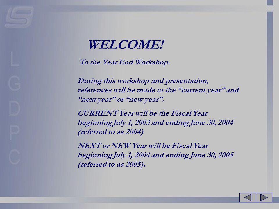 WELCOME. To the Year End Workshop.